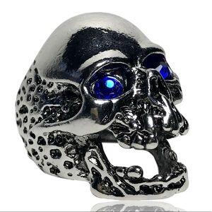 Gothic Punk Biker Blue Eye Melting Skull Ring